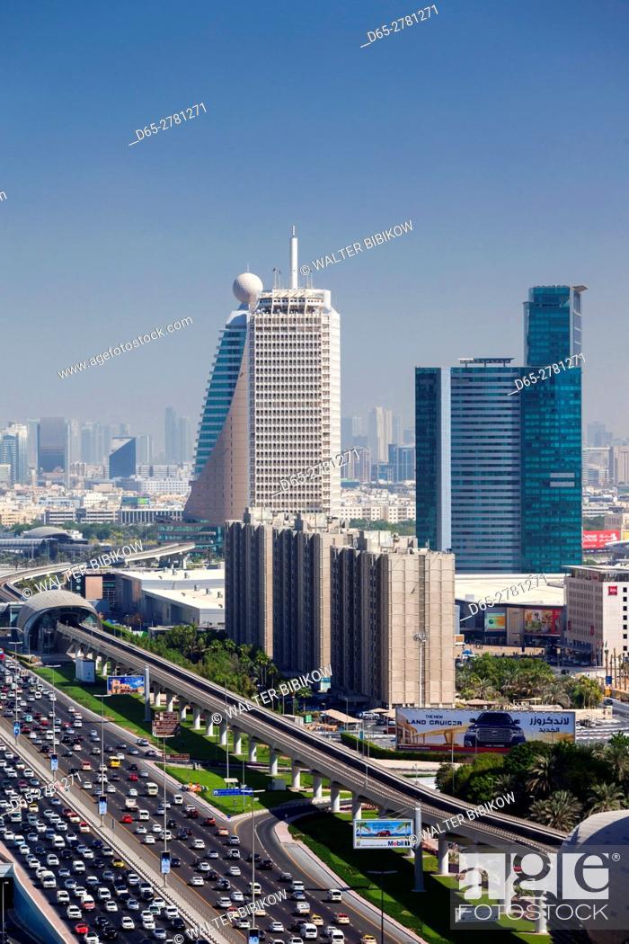 Stock Photo: UAE, Dubai, Downtown Dubai, high rise buildings along Sheikh Zayed Road, morning.