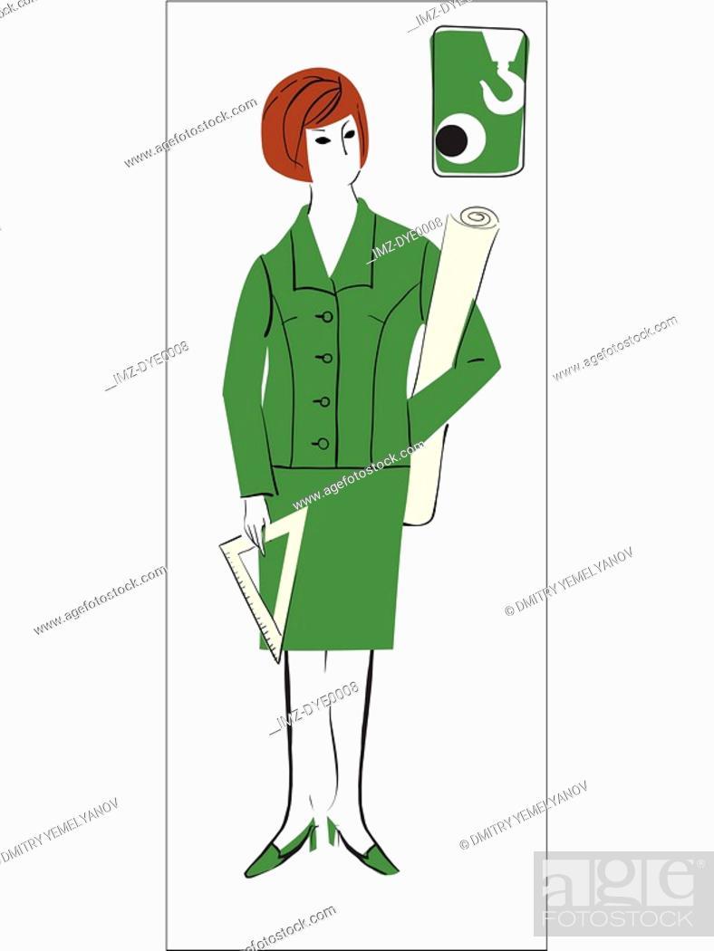 Stock Photo: A retro illustration of a female architect.