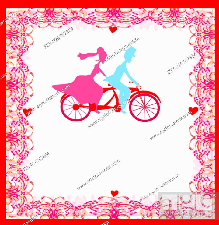 Stock Photo: wedding invitation with bride and groom riding a tandem bicycle.