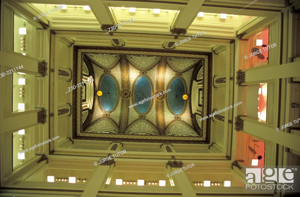 Stock Photo: Ceiling of the Chicago Cultural Center. Preston Bradley Hall. The largest stained-glass domed ceiling in the world by Tiffany.