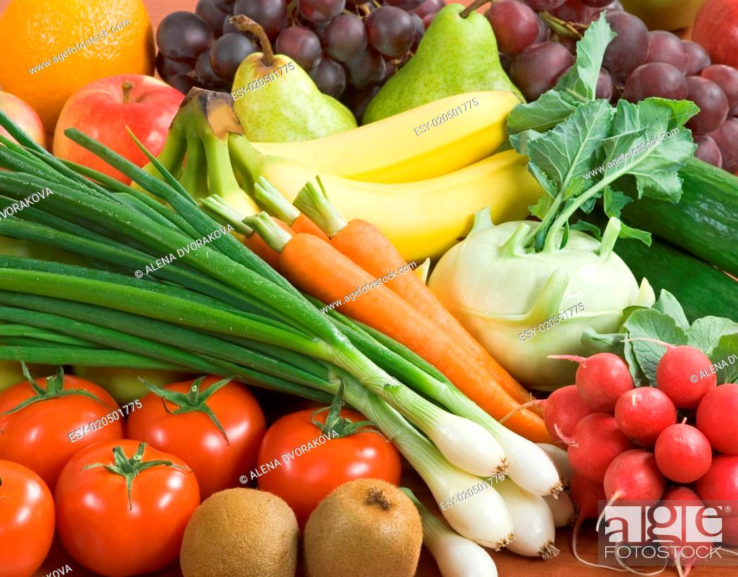 Stock Photo: Assortment of fresh vegetables and fruit.