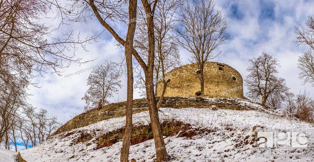 Stock Photo: Terebovlia, Ukraine 01. 06. 2020. The ruins of the old Terebovlia castle, Ternopil region of Ukraine, on a sunny winter day.