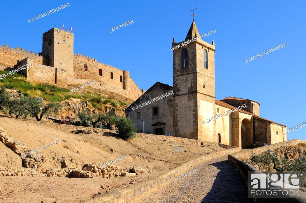 Stock Photo: Castle and church of Santiago. Medellín. Badajoz province. Extremadura. Spain.