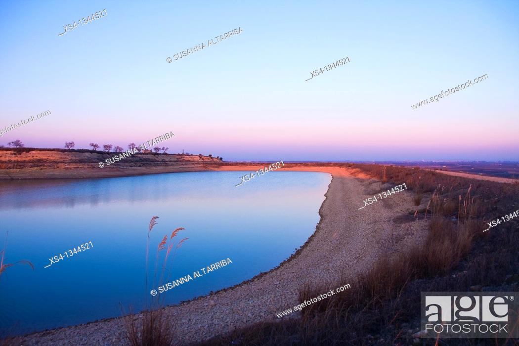 Stock Photo: Recreation area near to 'Panta de la Basella' artificial water reservoir in Miralcamp, Mollerussa, Lleida, Catalonia, Spain, Europe.