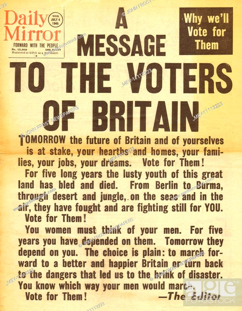 20 Daily Mirror front page reporting British General Election ...