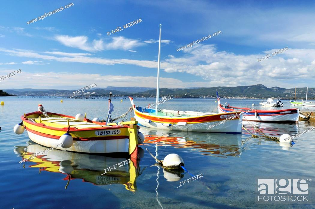 Stock Photo: Small wooden boats in the south of France beside Toulon.