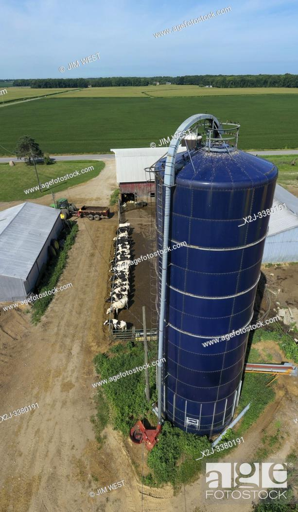 Stock Photo: Three Oaks, Michigan - A blue Harvestore silo on a small, third generation dairy farm.