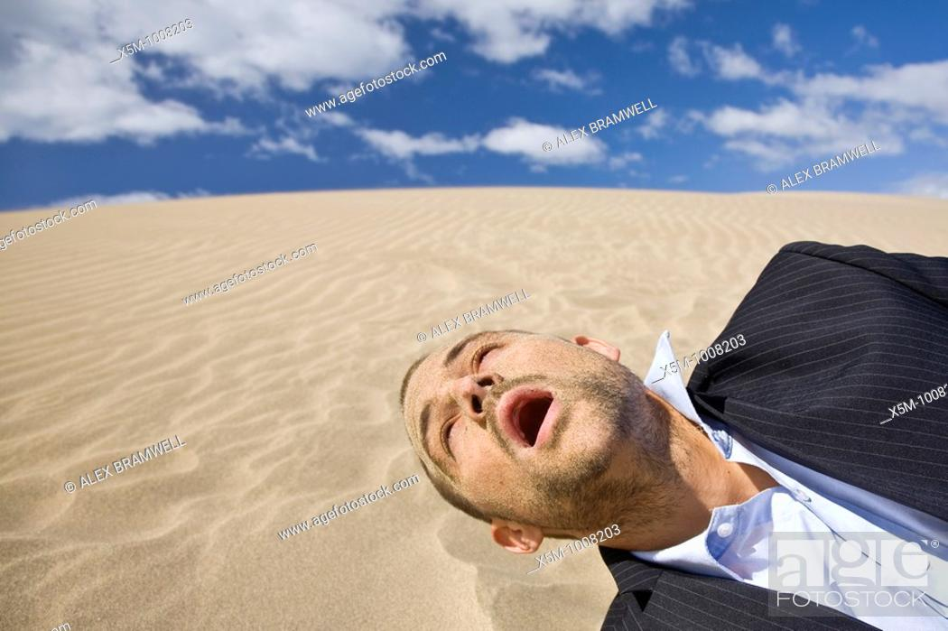 Stock Photo: Businessman dying in the desert sun with sand all over his face.