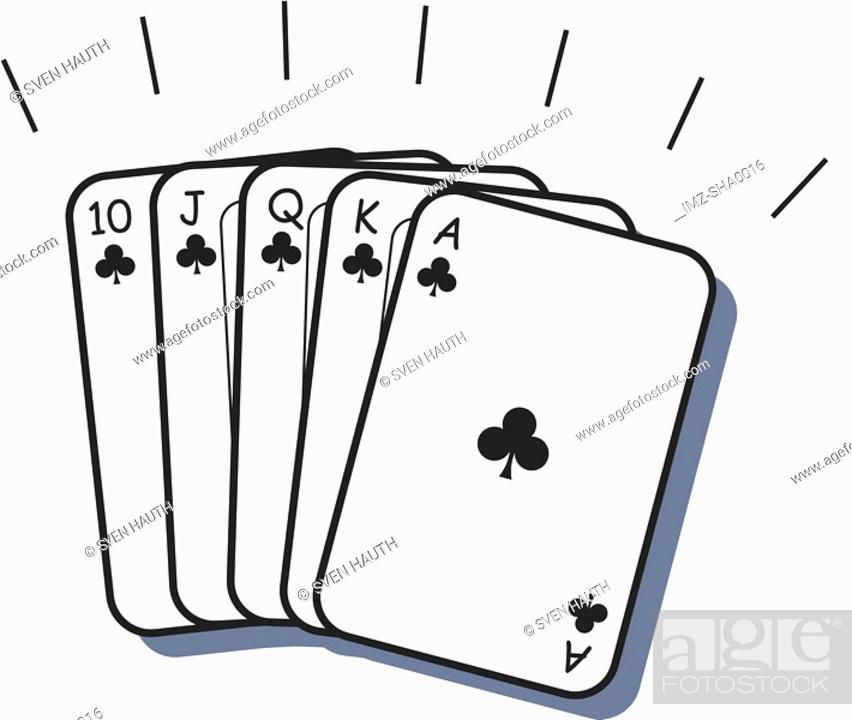 Stock Photo: A beautiful poker hand consisting of a straight flush.