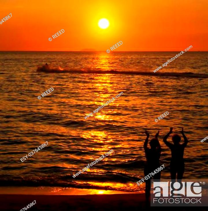 Stock Photo: Beach in the evening in thailand.