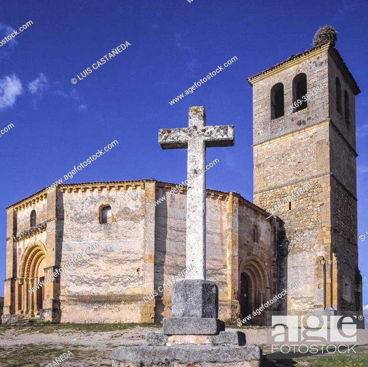 Stock Photo: It was founded by the Knights Templar in the 13th century, and is a singular church in the Romanesque style with a floor plan in the shape of a 12-sided polygon.