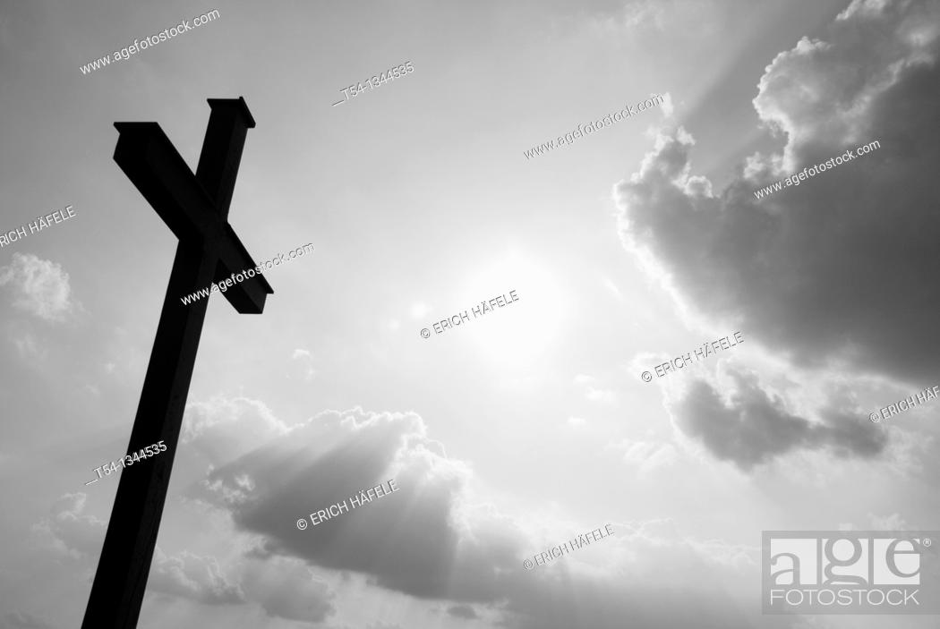 Stock Photo: Silhouette of a field cross in Bavaria.