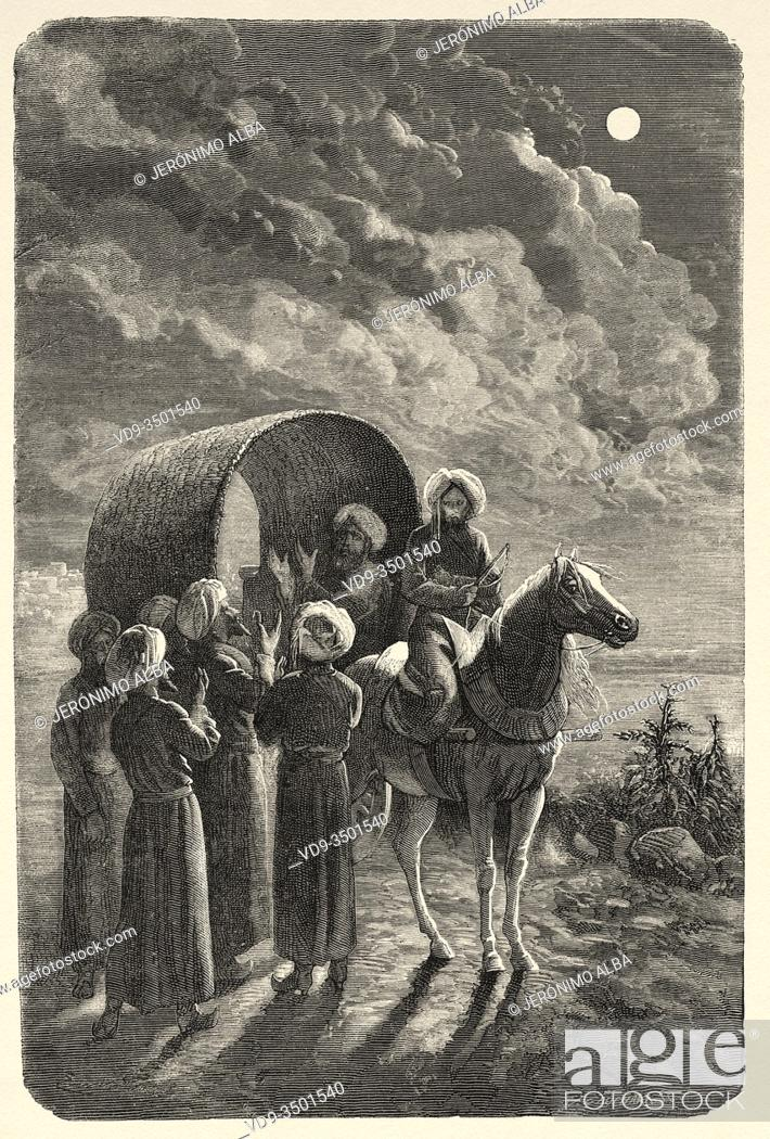 Photo de stock: Armin Vambery bidding farewell to his companions, from Travels in central Asia 1863 by Armin Vambery. Old engraving El Mundo en la Mano 1878.