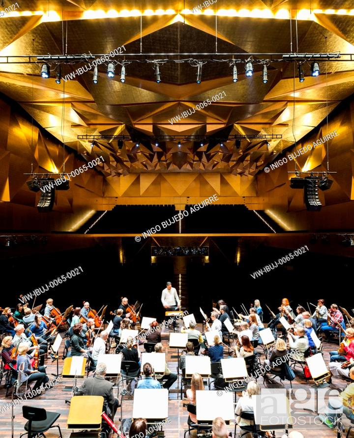 View of orchestra rehearsing in symphony hall  Szczecin