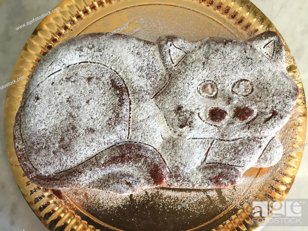 Stock Photo: Cake in Form of Cat.