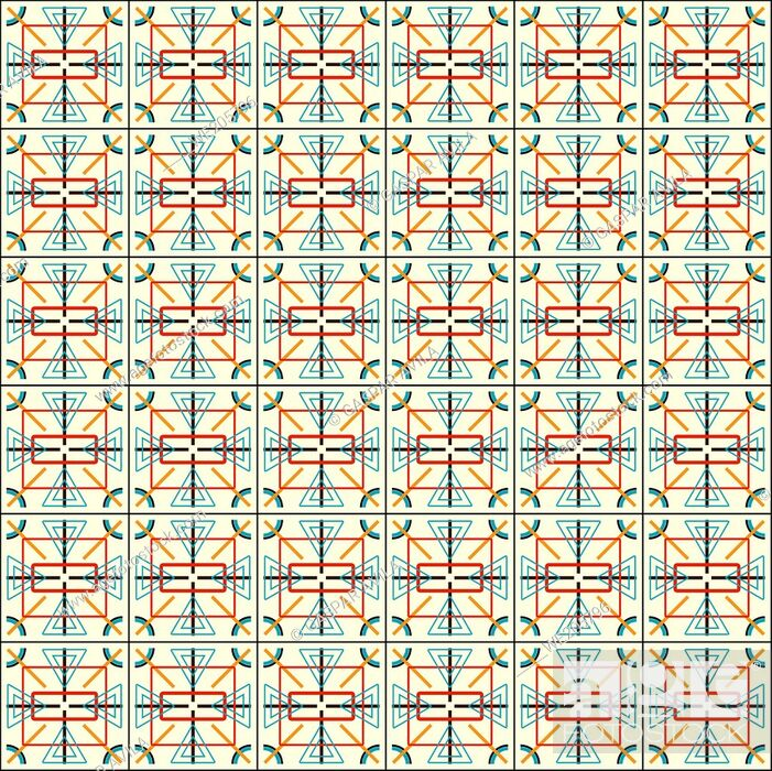 Vecteur de stock: Complex geometric pattern in assorted shapes and colors on a light yellow background. Geometric graphic design.
