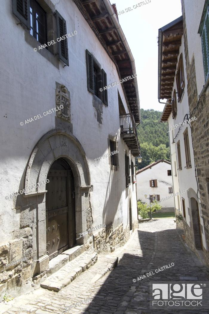 Stock Photo: Old architecture in Roncal village Roncal valley in Navarre Spain.