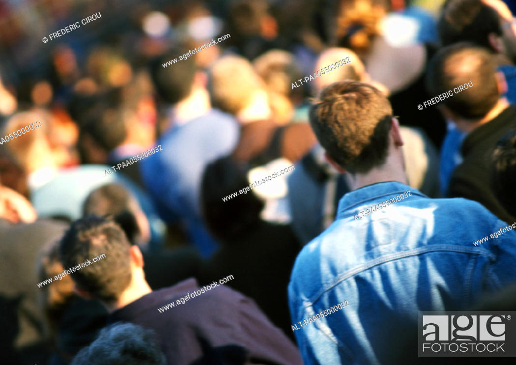 Stock Photo: Crowd, head and shoulders, rear view, blurred, tilt.