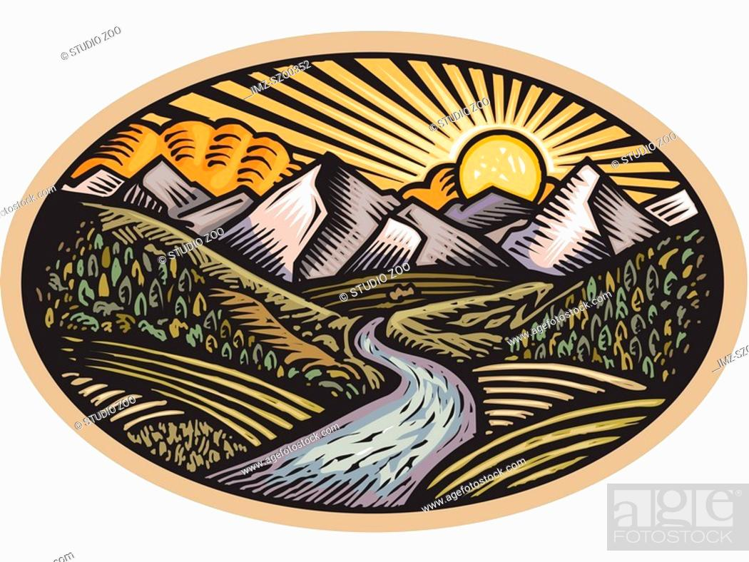 Stock Photo: Oval shaped nature scene of mountains, hills and stream.