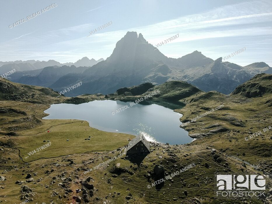 Stock Photo: Drone view of the Ayous lake, french pyrenees in summer, a really place for hiking.