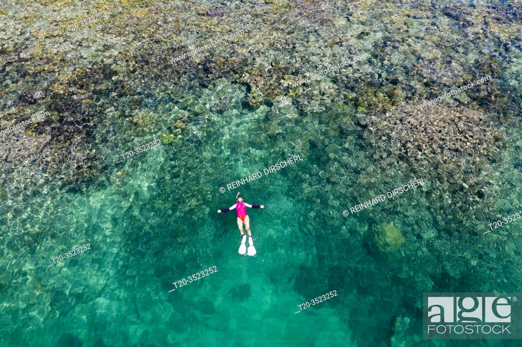 Stock Photo: Snorkeling at House Reef of Lissenung, New Ireland, Papua New Guinea.