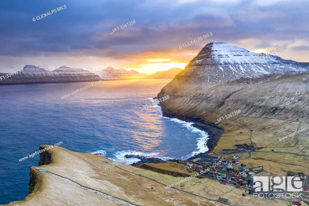 Stock Photo: Aerial view from Gjogv (Eysturoy island, Faroe Islands, Denmark).