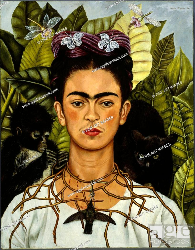 Stock Photo: Self-Portrait with Thorn Necklace and Hummingbird. Kahlo, Frida (1907-1954). Oil on canvas. Surrealism. 1940. Harry Ransom Center, Texas. 62,6x47,9.