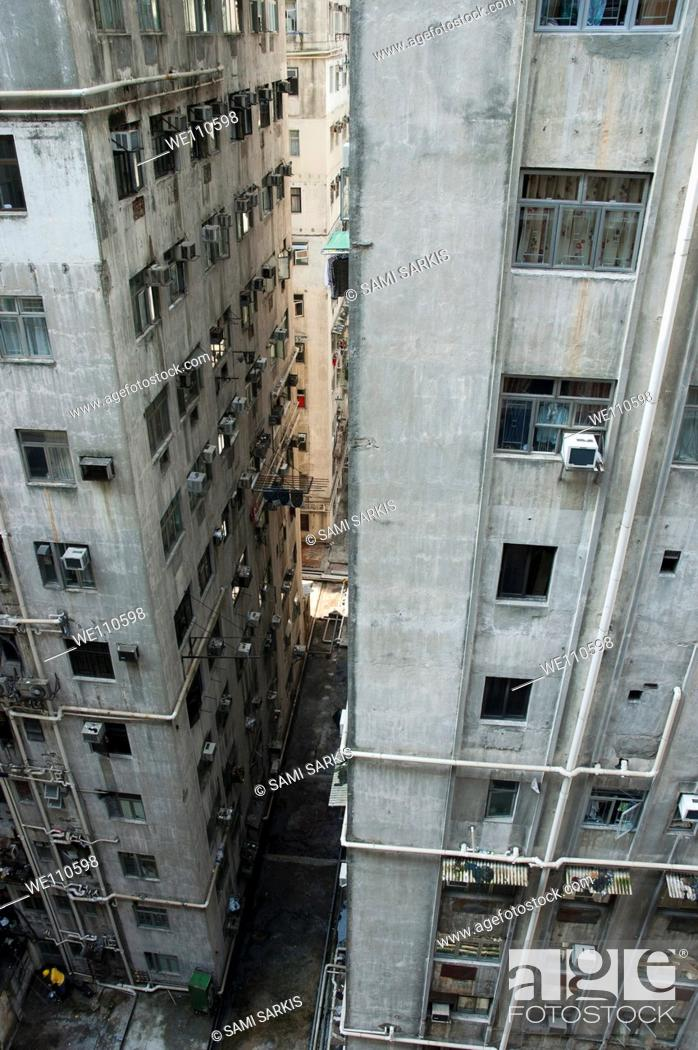 Old Run Down Concrete High Rise Apartment Buildings In Kowloon