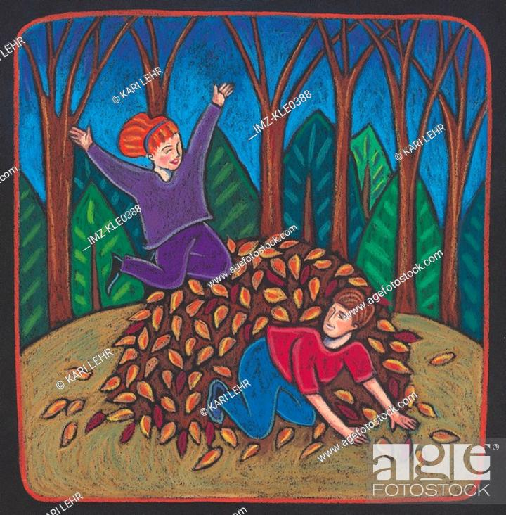 Stock Photo: Children playing in a pile of autumn leaves.