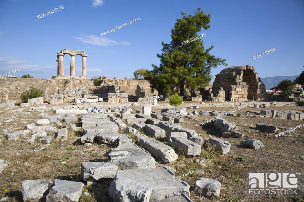 Stock Photo: Europe, Greece, Peloponnese, ancient Corinth, archaeological site, view with the north east shops and the Temple of Apollo.