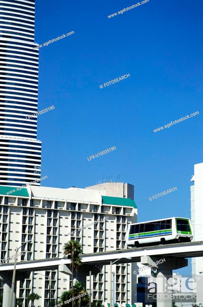 Stock Photo: Mini rail transport network in Miami, Florida, USA.