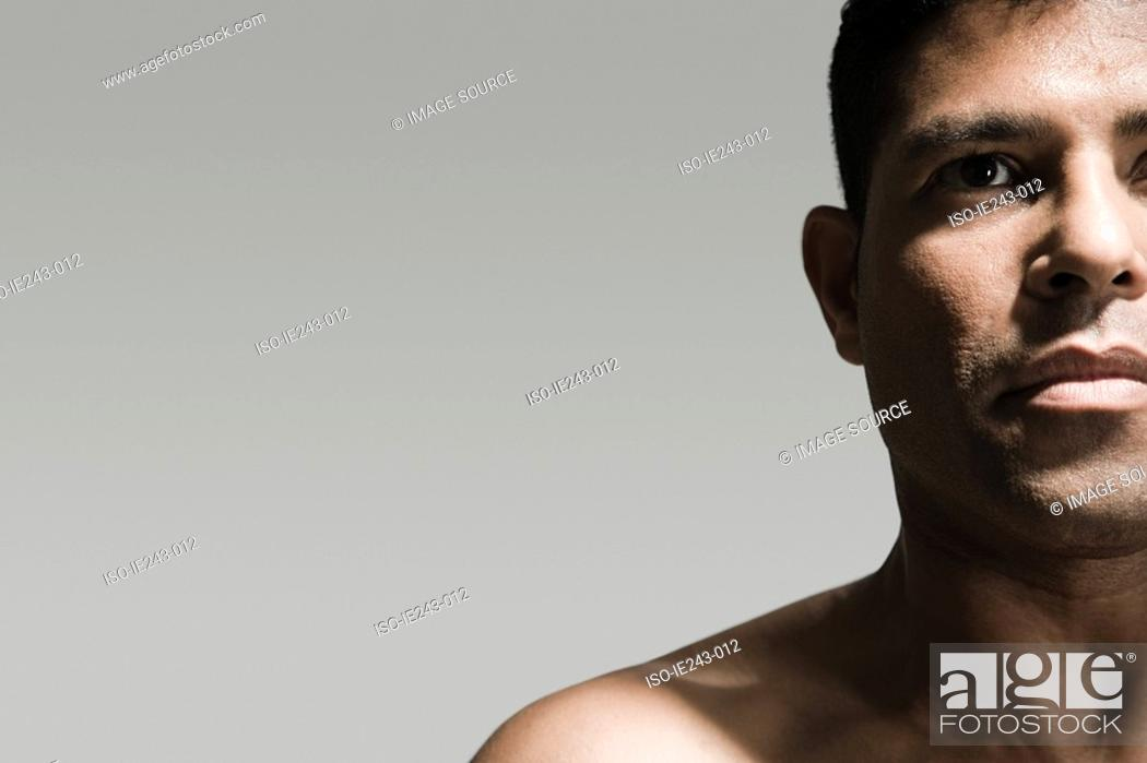 Stock Photo: Cropped head and shoulders of a man.