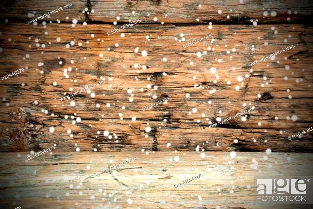 Stock Photo: Wooden Texture with Snow.
