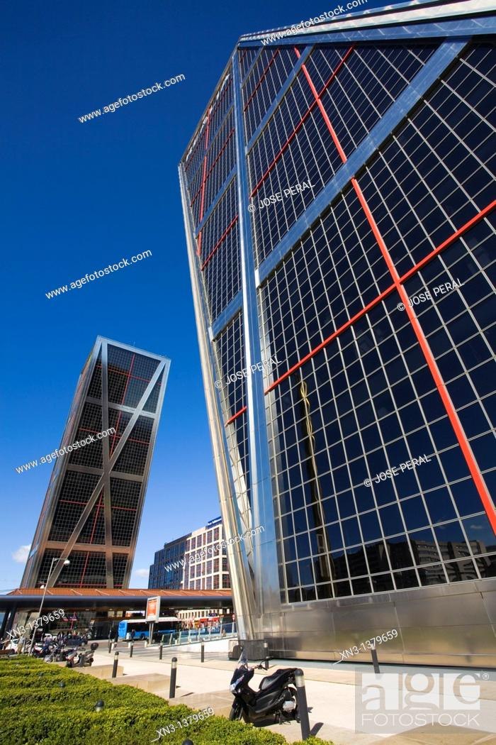Stock Photo: KIO Towers. Plaza de Castilla, Madrid, Spain.