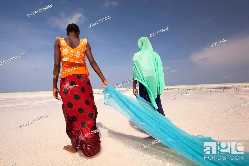 Imagen: Young muslim girls in colorful dress with fishnet on Jambiani beach, Zanzibar Island, Tanzania, East Africa.