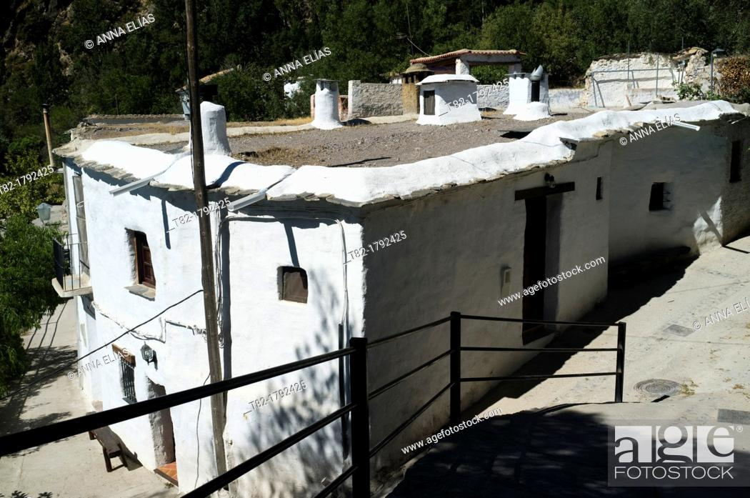 Stock Photo: typical whitewashed village house. Cástaras, Alpujarras, Granada, Andalucia, Spain.
