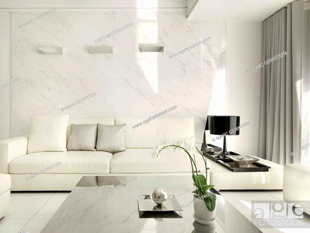 Stock Photo: Monochromatic modern living room.
