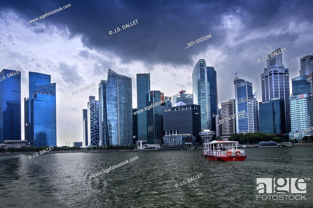 Stock Photo: Singapore, Central area from Marina Bay.