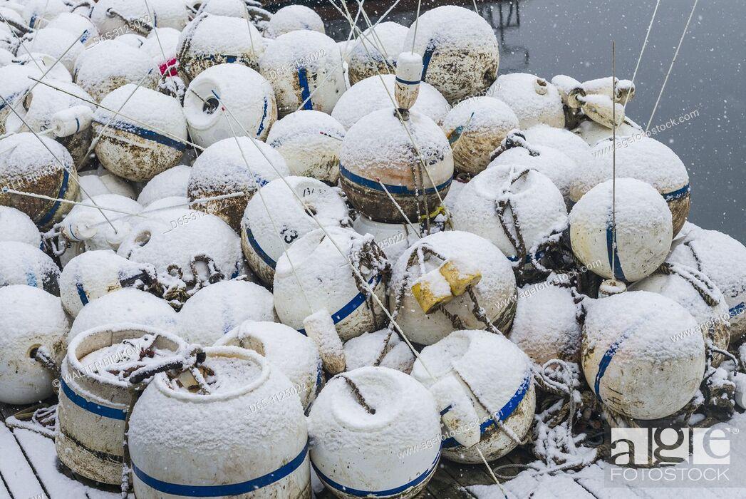Stock Photo: USA, New England, Cape Ann, Massachusetts, Annisquam, Annisquam Harbor, fishing buoys, winter.