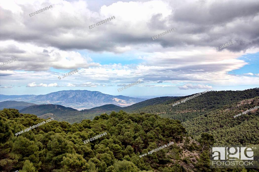 Stock Photo: landscape of the mountains of Sierra Espuña in Cartagena Spain.