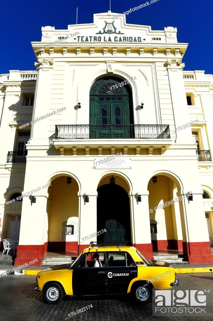 Stock Photo: Teatro La Caridad (Charity's Theater) on Parque Vidal,Santa Clara, Cuba.