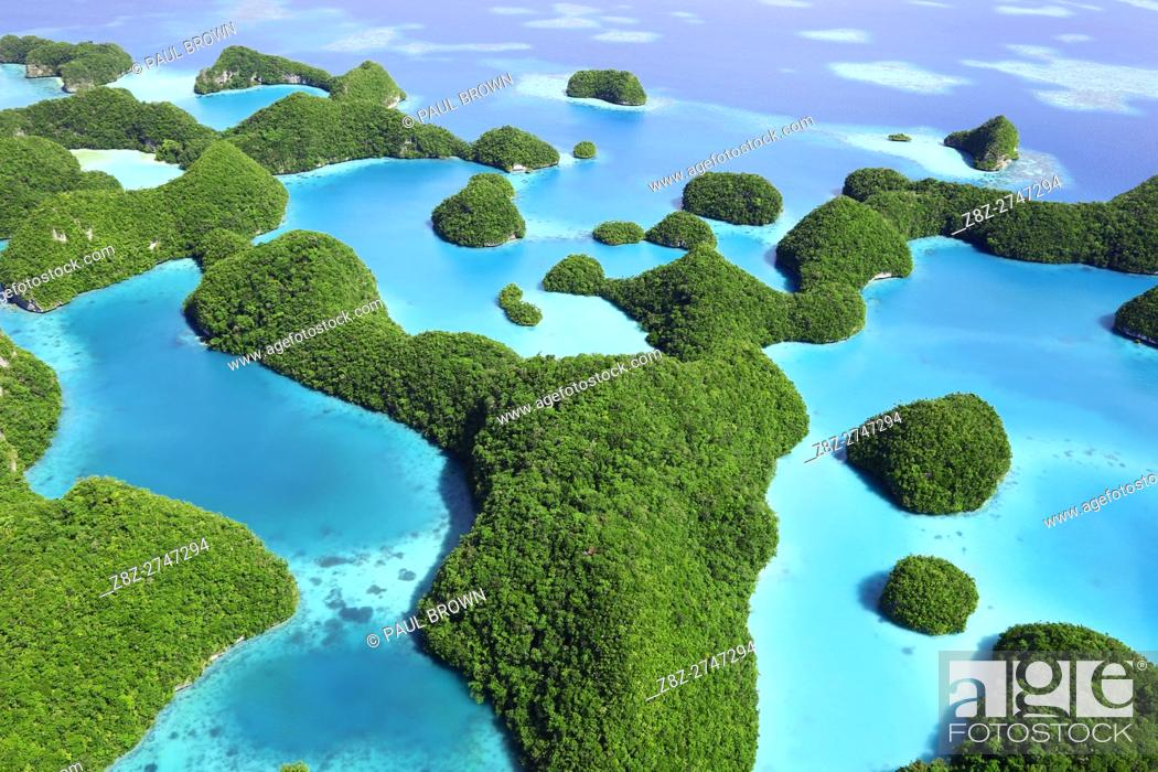 Stock Photo: Aerial view of the archipelago of Seventy Islands, Republic of Palau, Micronesia, Pacific Ocean.
