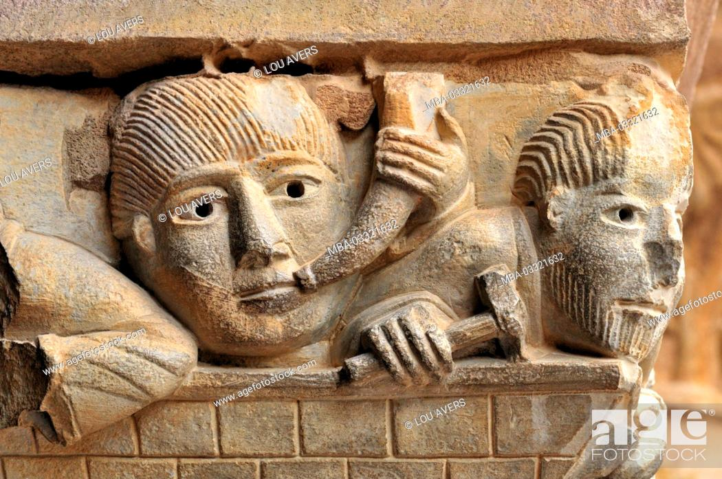 Stock Photo: France, Midi-Pyrénées, Romanesque capital of the abbey St. Foy in Conques,.