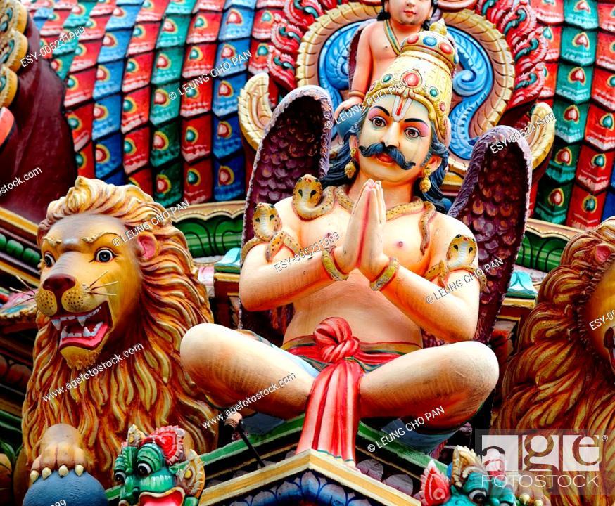 Stock Photo: hindu temple statue.