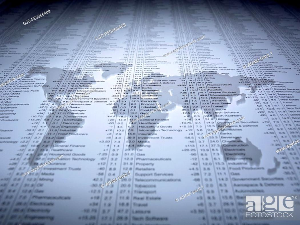 Stock Photo: World map outline on list of share prices.