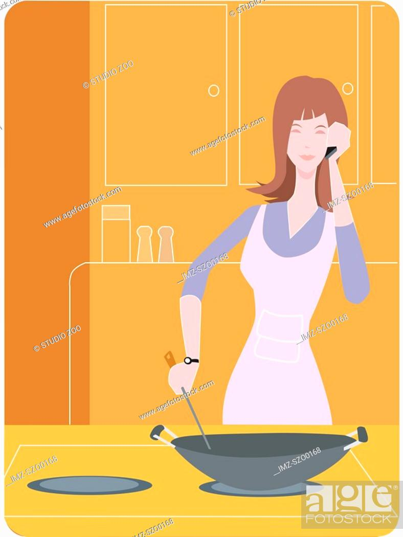 Stock Photo: Woman cooking with a wok and talking on the phone.