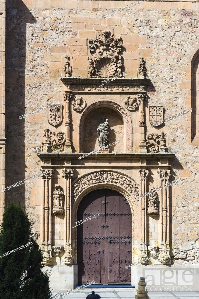 Stock Photo: Entrance to the Convento de las Duenas is a female convent of the order dominica located in the city of Salamanca, Castilla y Leon, Spain, Europe.