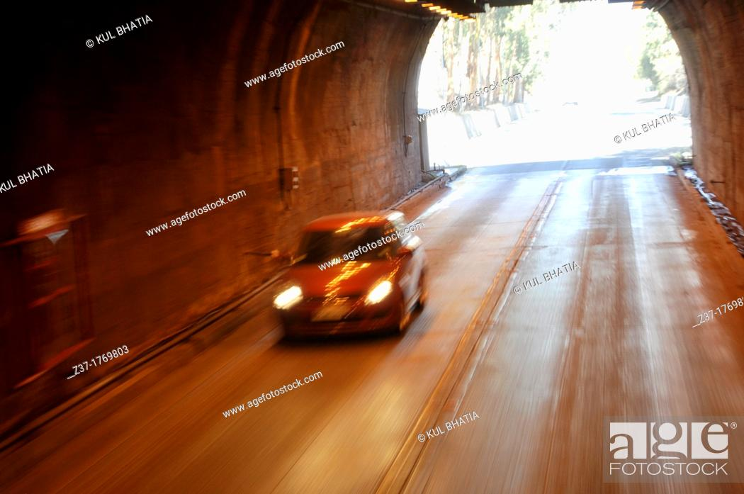 Car entering tunnel, Chile-Argentina border, Stock Photo, Picture
