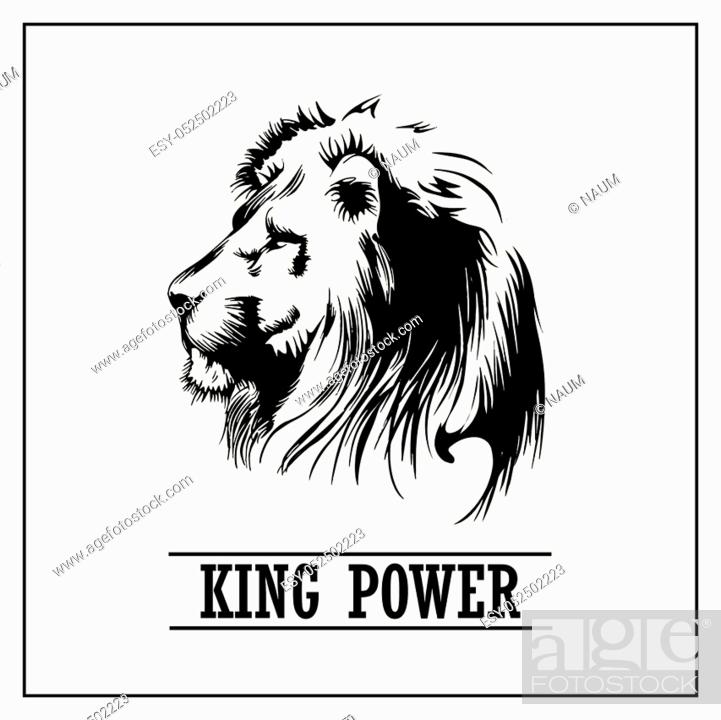 Stock Vector: Lion Head, king power, stock vector illustration.