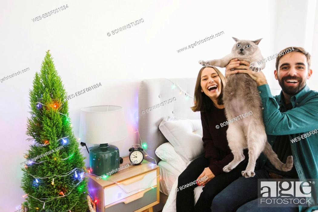 Stock Photo: Laughing couple with their cat at home.